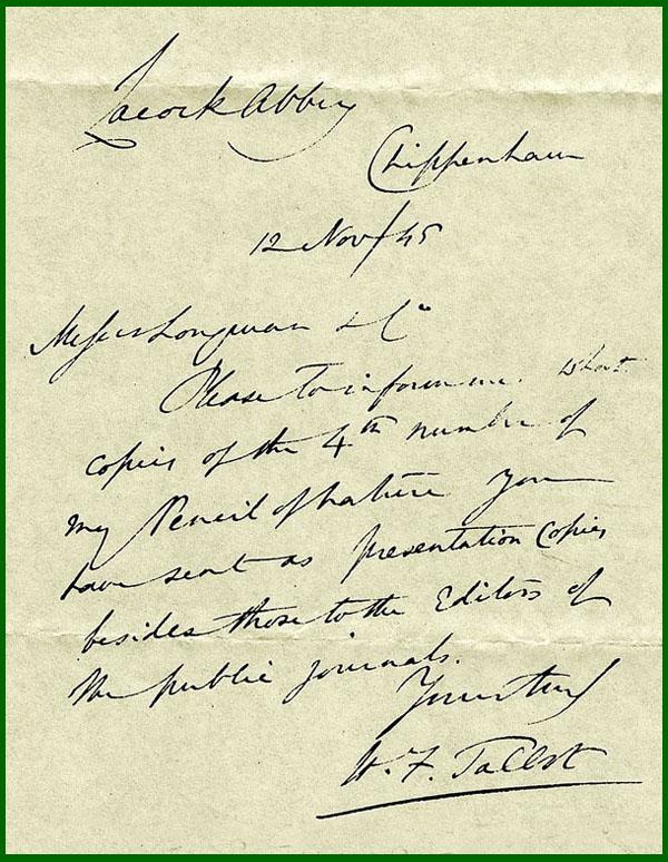 talbots correspondencemanuscript letter With manuscript letters
